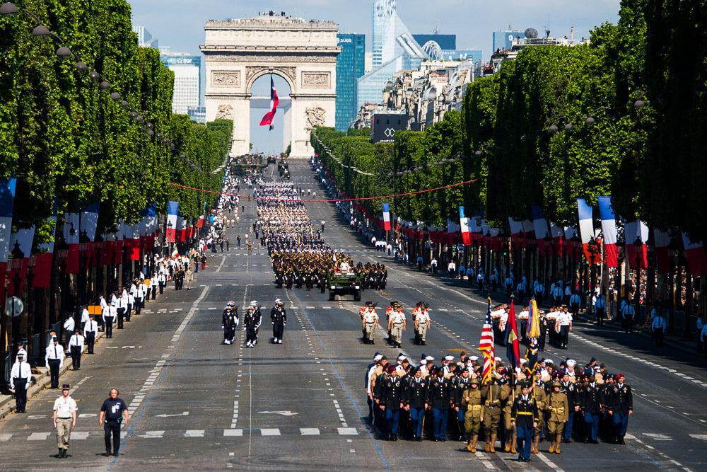 Bastille Day Parade in Paris on the Boulevard de Champs-Élysées coming from Arc de Triomphe