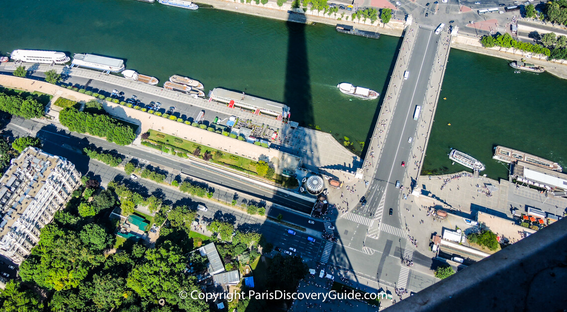 Eiffel Tower's shadow in a photo taken from the 2nd Level platform