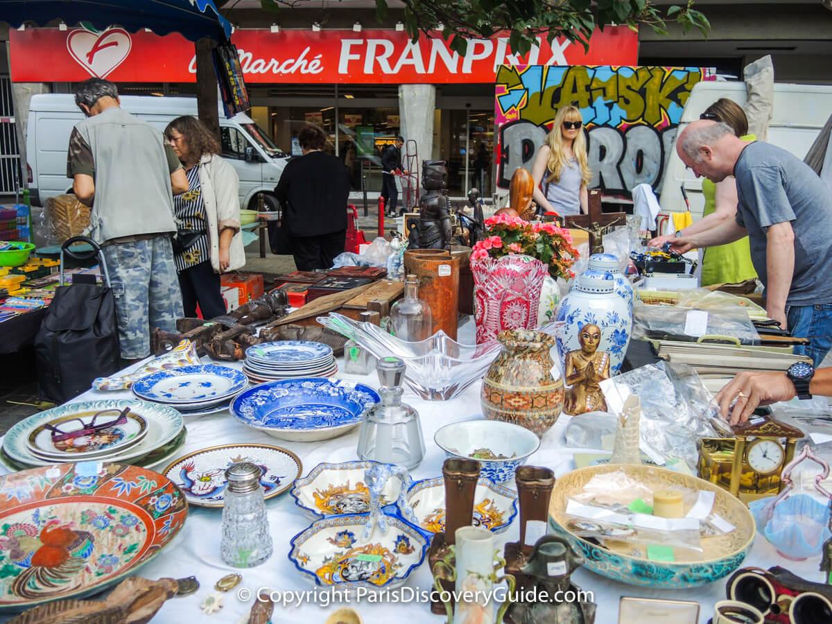 Collectibles at Rue d'Aligre Flea Market in Paris