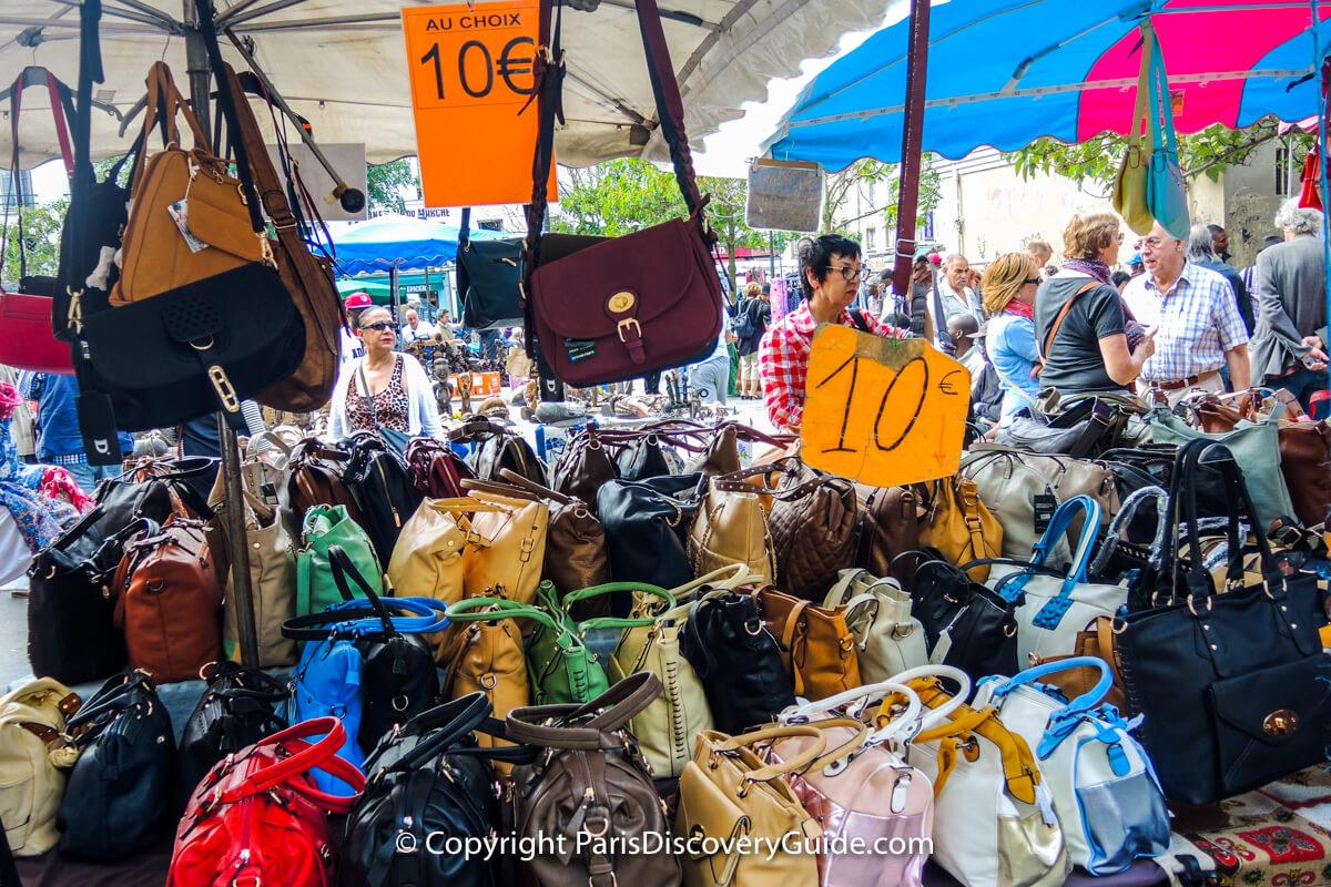Inexpensive handbags at Montreuil Flea Market
