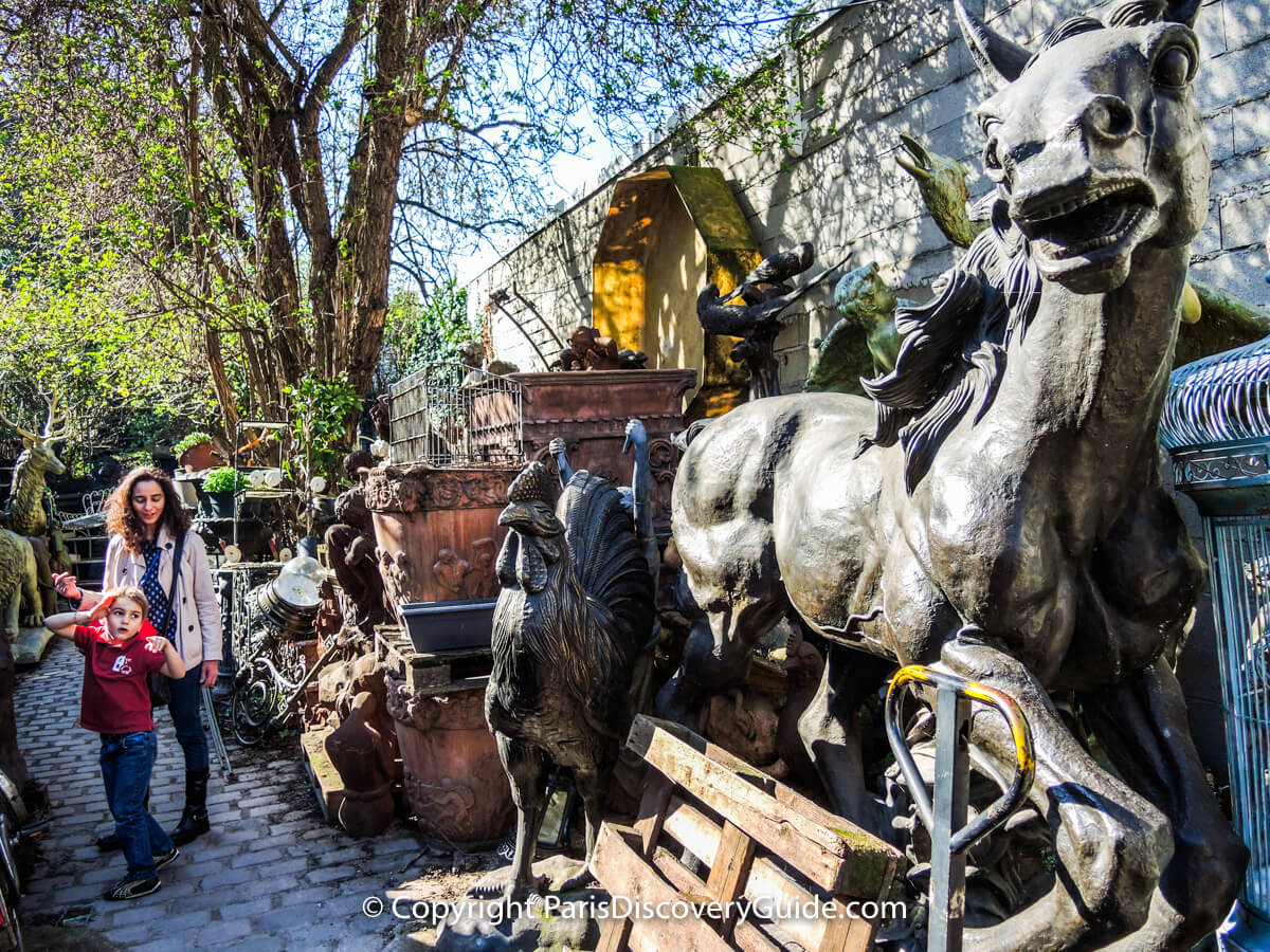 Outdoor sculptures at the Paris Flea Market
