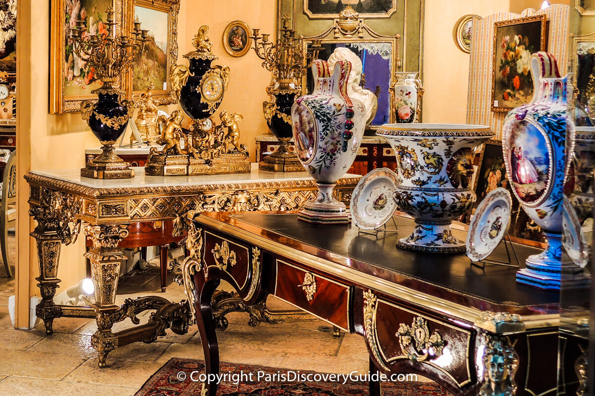Antique furniture and decorative objects at the Paris Flea Market