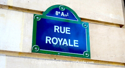 Rue Royale street sign showing arrondissement number