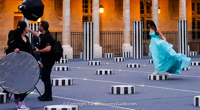 Palais Royal in Paris - fashion photograhy shoot during Paris Fashion Week