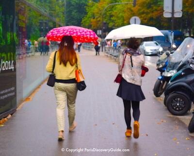 Walking in the rain near Quai Branly Museum in September