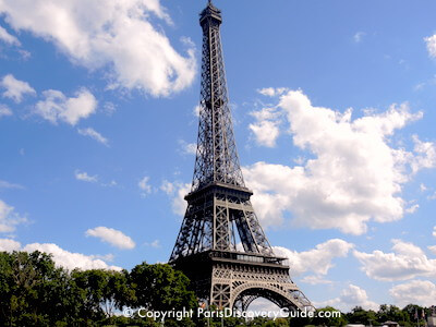 Eiffel Tower in Paris photographed from Seine River cruise