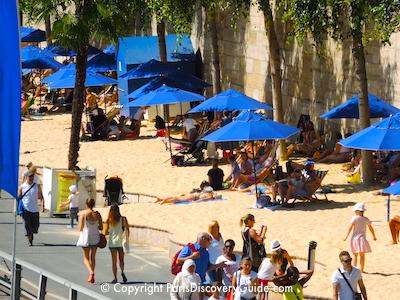 Paris Plage - sand and beach umbrellas along the Seine River