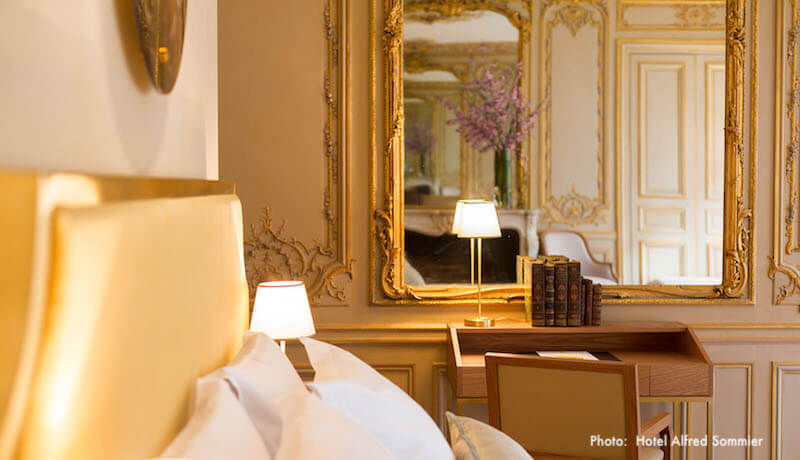 Sumptuous guestroom at Hôtel Alfred Sommier