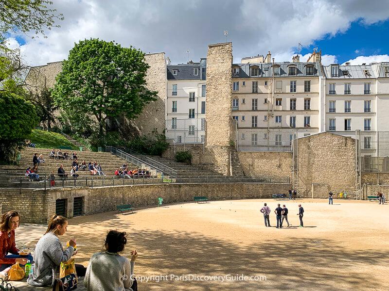 Caged animal enclosures in Arenes de Lutece in Paris