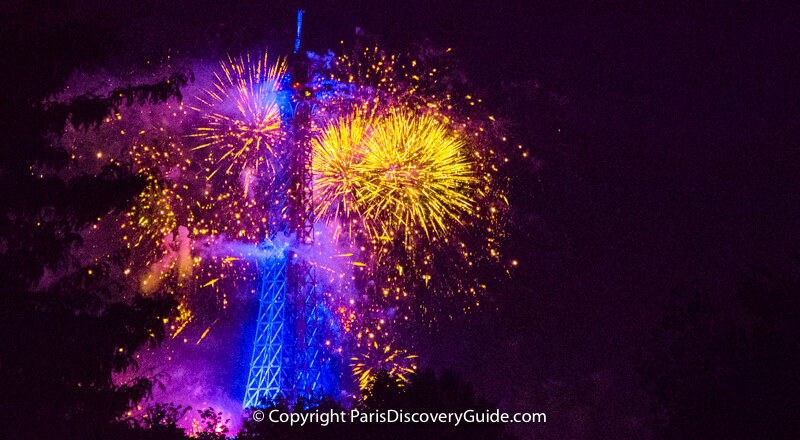 Fireworks show celebrating Bastille Day at the Eiffel Tower