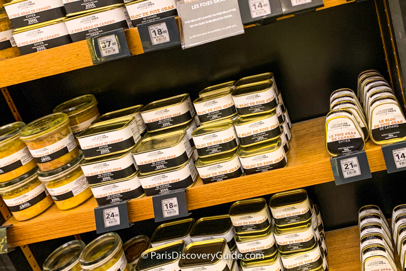 Tins of foie gras displayed in Bon Marché's La Grande Épicerie de Paris on Rue de Sèvres
