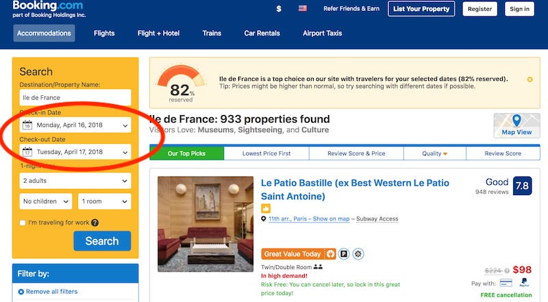 best deals on paris hotels
