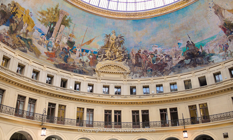 19th century mural at Bourse de Commerce representing trade among the world's continents