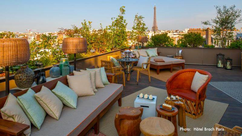 Terrace view of the Eiffel Tower from Hotel Brach Paris