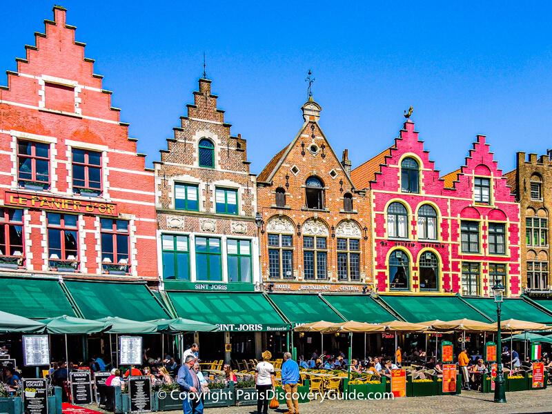 Bruges's Markt, or central market square, on a sunny April afternoon