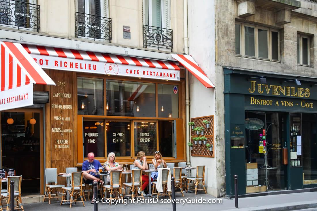 Cafe on Rue Richelieu near Palais Royal in the 1st arrondissement; Juveniles, next door, is a popular wine bar