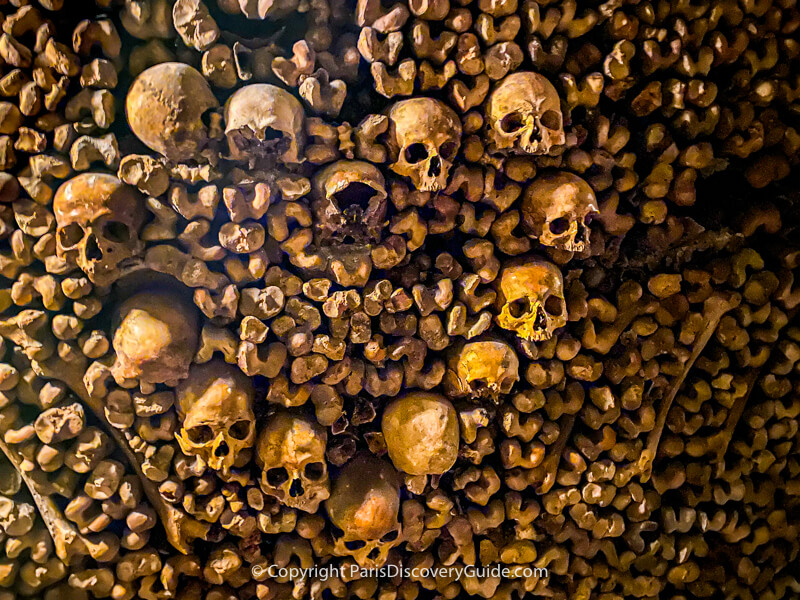 Skulls and bones in the Paris Catacombs