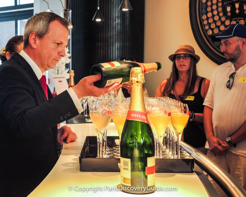 Tasting champagne at Mercier