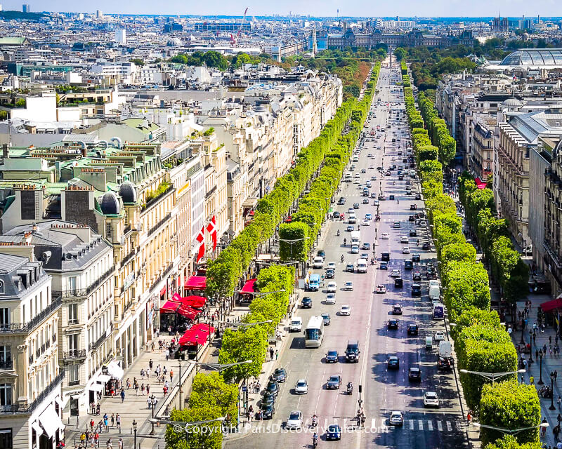 Champs Elysees: Look for the Egyptian Obelisk at Place de la Concorde, TuileriesGarden, and the Louvre at the end, and on the right, a bit ofGrand Palais'glass roof