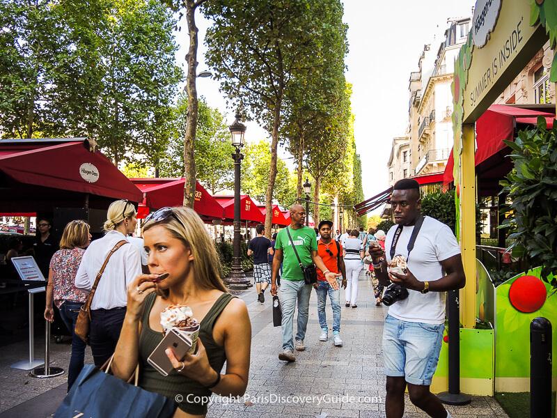 Ice cream along Champs Elysees - always a good idea!