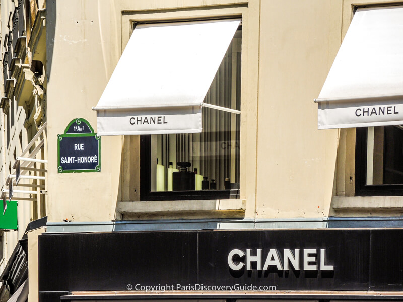 Chanel sign on Rue Saint-Honore in Paris