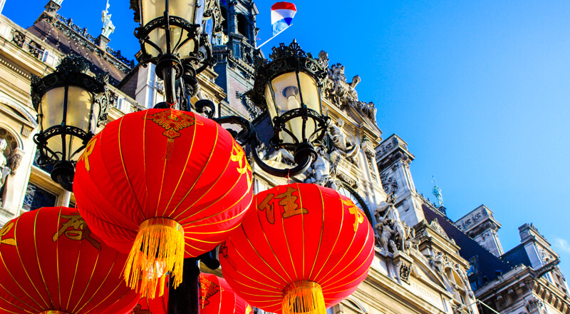 Chinese New Year red silk lanterns welcome the Lunar New Year at Paris's Hotel de Ville (City Hall) -  Photo courtesy of Vince11111