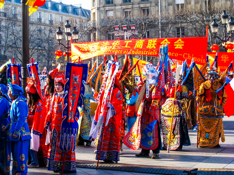 Marchers in Paris Chinese New Year Parade