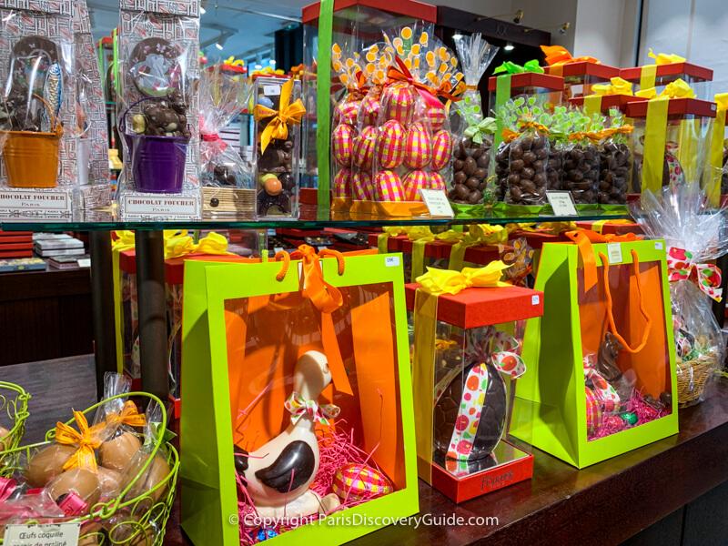 Easter chocolates displayed in Foucher chocolatier Foucher in Paris