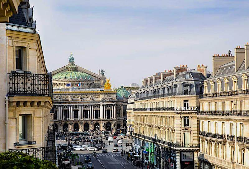 View of Palais Garnier and Avenue de l'Opera from a balcony at Hotel Edouard VII