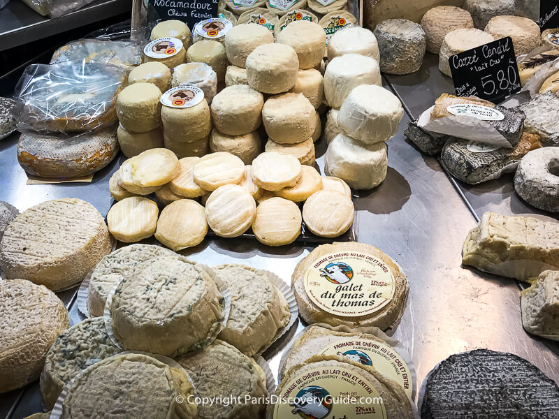 Chevre (goat cheese)display in a Paris fromagerie (cheese shop)