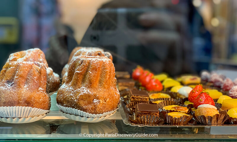 Pastries and confections in a specialty bakery in Paris's Saint-Germain-des-Prés neighborhood