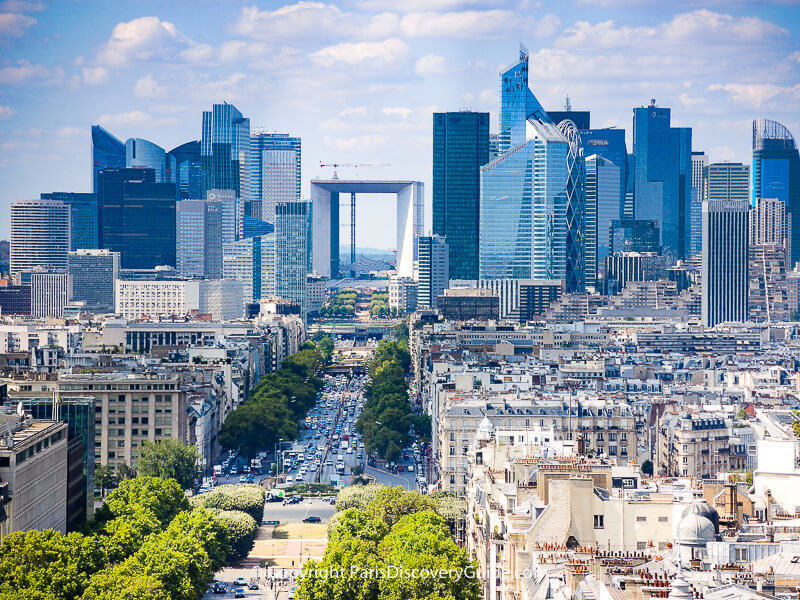 The Grand Arche of La Défense at the end of the Historical Axis as seen from the Arc de Triomphe's rooftop