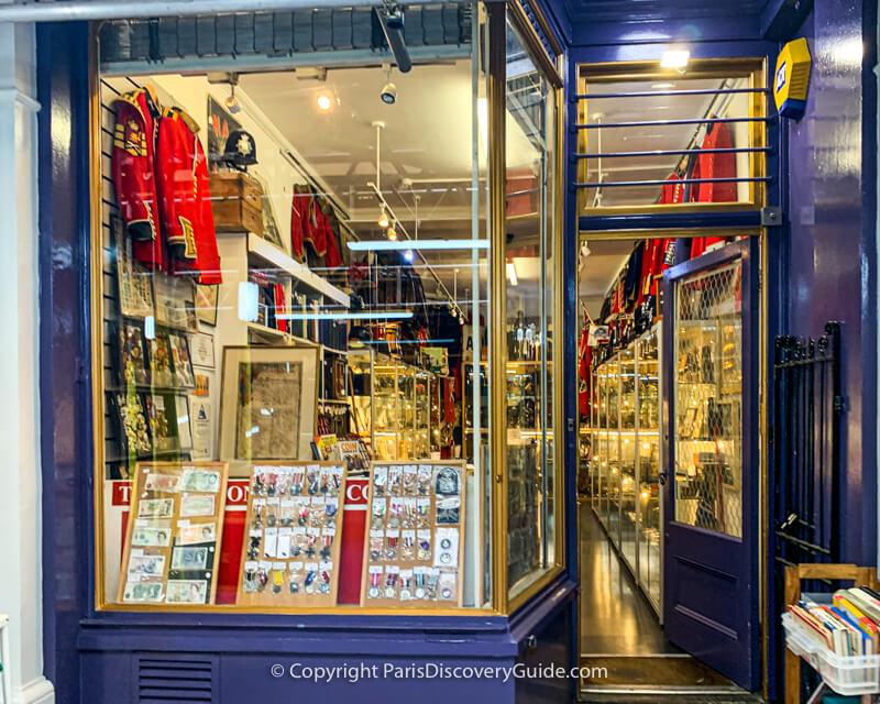 Military memorabilia boutique in Cecil Court in London