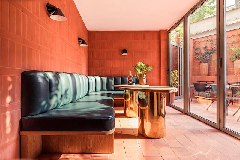 Bar seating and outdoor terrace at Hotel Ami in the 15th arrondissement