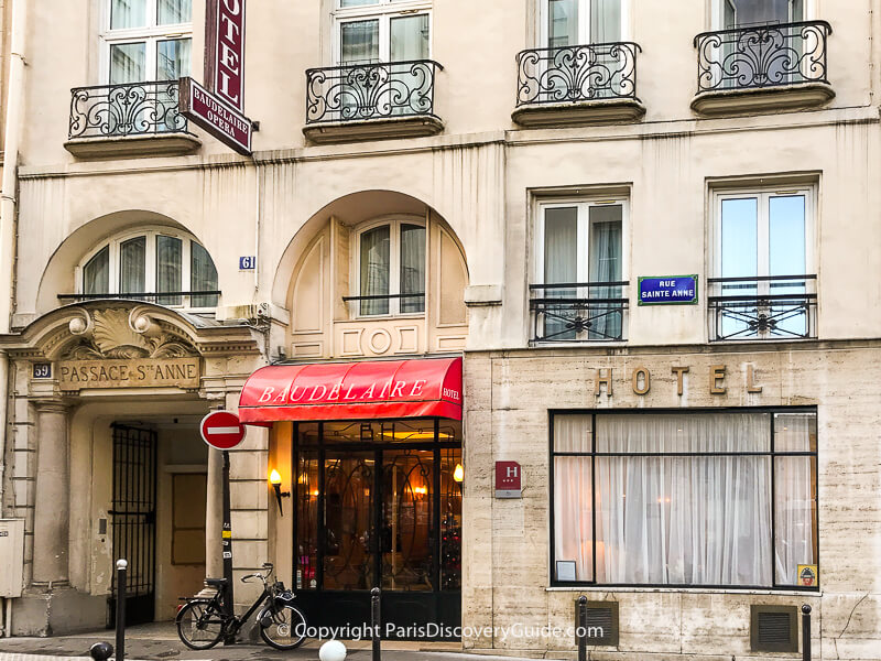 Entrance to Hotel Baudelaire in the 2nd arrondissement