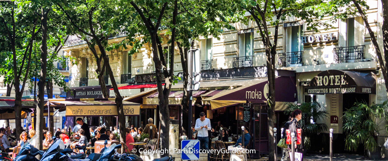 Hotel Convention Montparnasse and nearby sidewalk cafes in the 15th arrondissement
