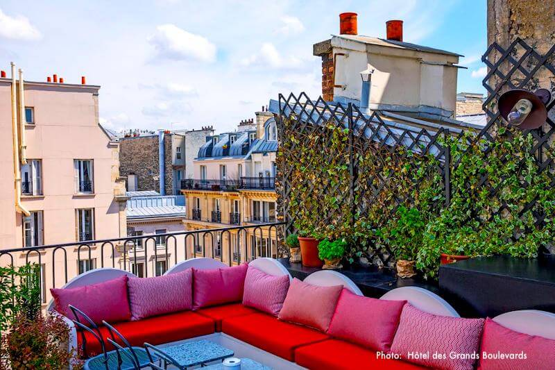 View from Hotel des Grand Boulevards' rooftop terrace bar
