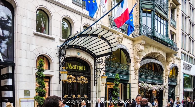 Paris Marriott Champs Elysees Hotel near the Paris Marathon start and finish lines