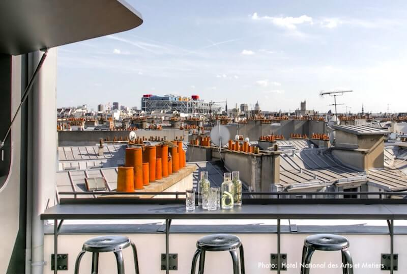 """View from Hotel National des Arts et Métiers' bar of """"les toits"""" - the rooftops - of Paris; you can see Centre Pompidoux in the distance"""