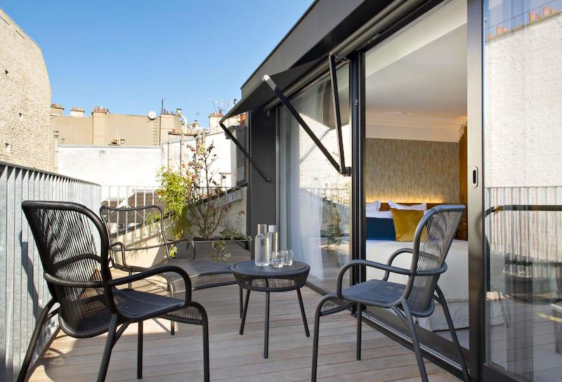View from a guestroom terrace at Hotel Parister in the 9th Arrondissement
