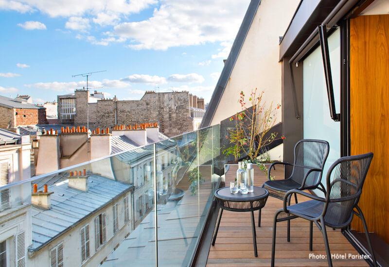 View a guestroom terract at Hotel Parister in the 9th Arrondissement