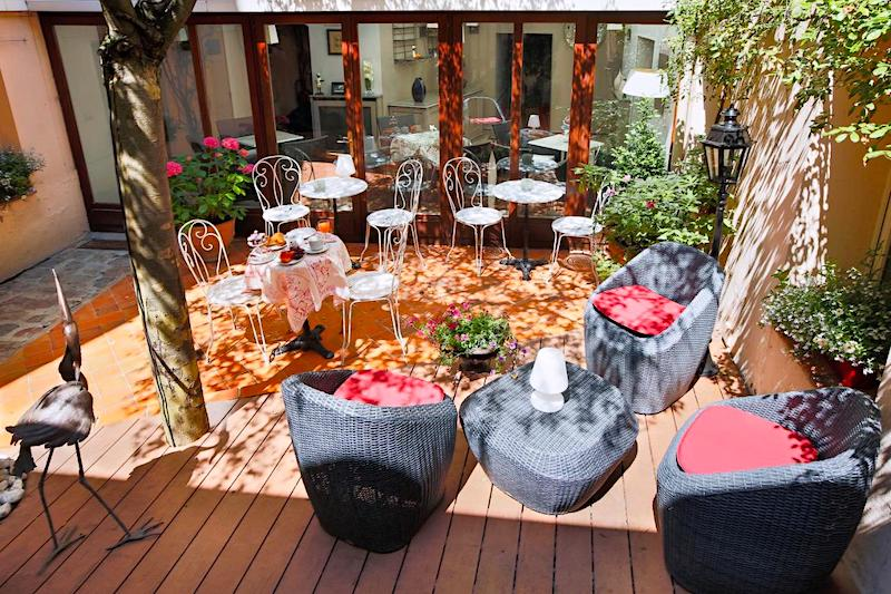 Terrace seating at La Residence Du Berry