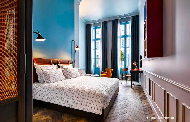 Guest room at The Hoxton Paris