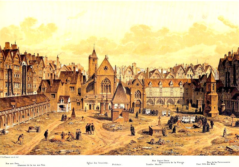 Late 19th century engraving by F. Hoffbauer of Les Innocents graveyard as it might have appeared in the 1500s (Public Domain) - Buildings with arched fronts lining the cemetery are charnel houses (charniers)