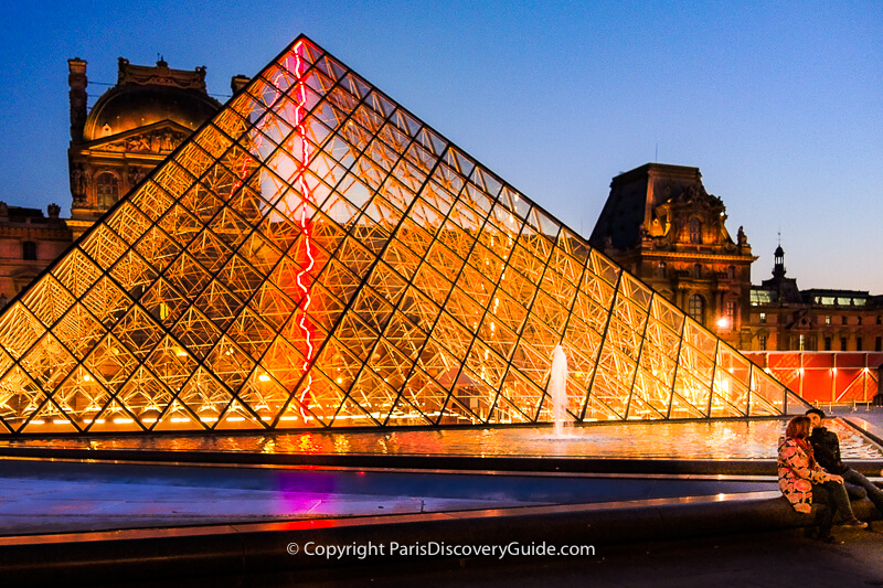 Glass pyramid designed by Chinese-American architect I. M. Pei in the Louvre Museum's Cour Napoléon courtyard