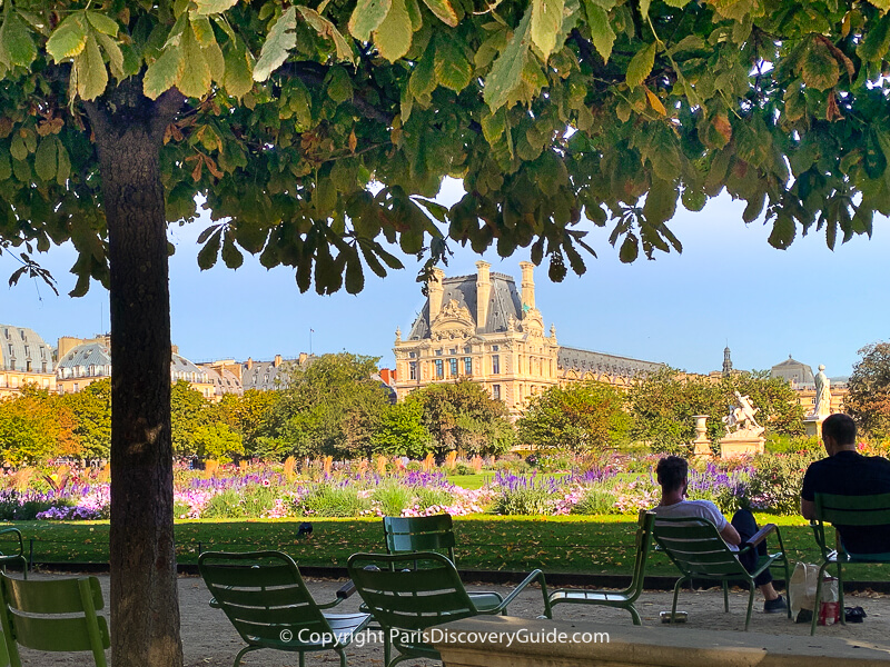Tuileries Garden, with views of the Louvre and rooftops in the distance