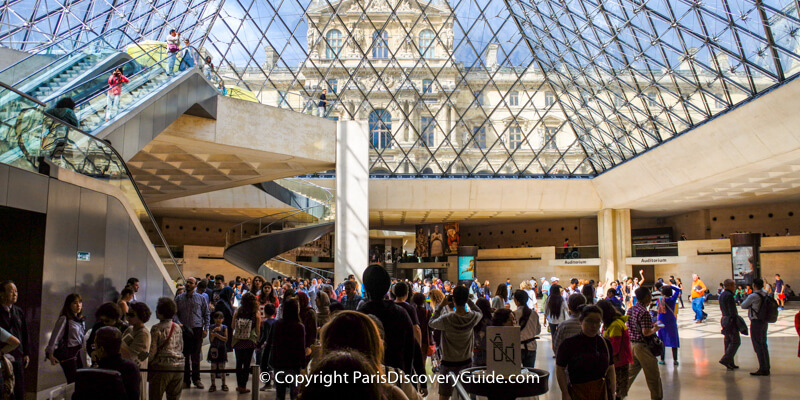 Inside the Louvre Museum under the glass pyramid