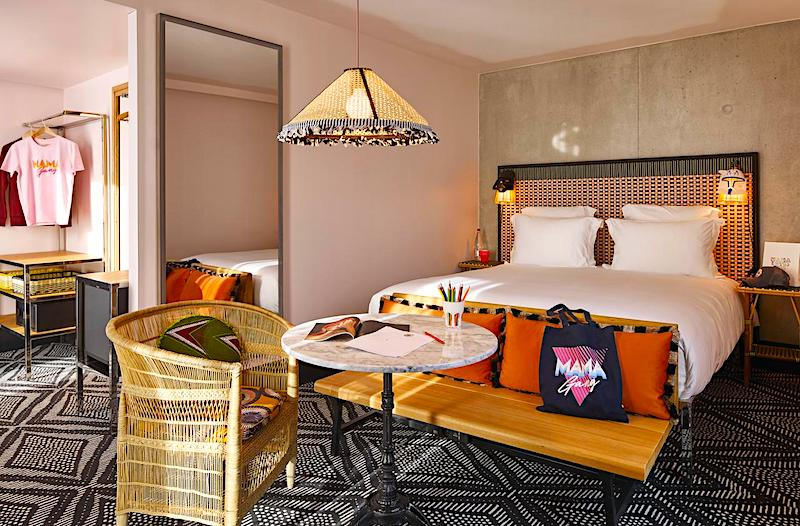 Guest room at Mama Shelter West near the Porte de Versailles Expo Center