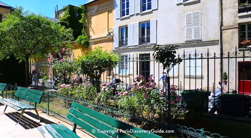 June roses blooming in the garden in Square Saint-Gilles du Grand Veneur in the Marais