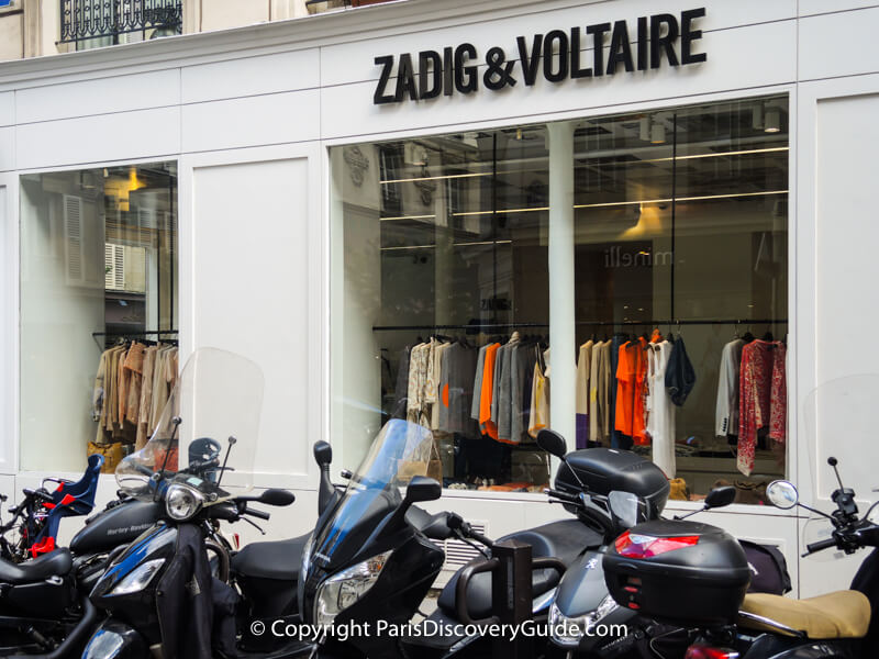 French designer Zadig & Voltaire boutique on Rue Pavée in the Marais